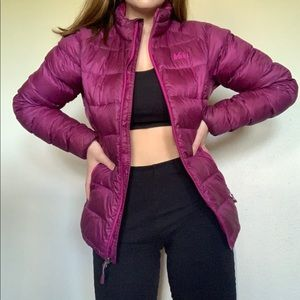 Pink REI puffy coat